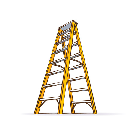 staircase: Color Cartoon Yellow Double Ladder Illustration Isolated On White