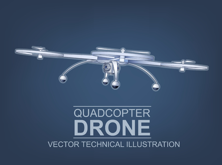 hi end: Color Vector Technical Illustration Of  Modern Quadcopter Drone With Mounted Digital Camera