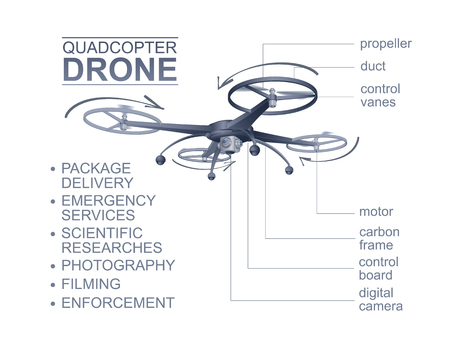 photo realistic: Copter. Color Vector Photo Realistic Technical Drawing Illustration