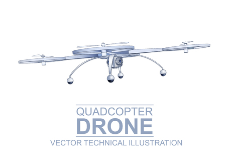 hi end: Color Vector Technical Illustration Of  Modern Quadcopter Drone With Mounted Digital Camera Isolated On White