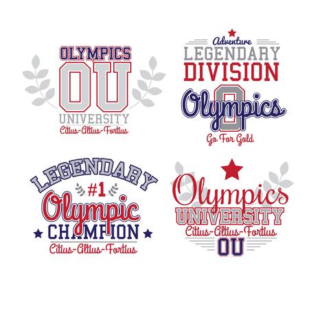 varsity: Fan Art Olympics Theme. Vector Red And Blue Grafic Varsity Style