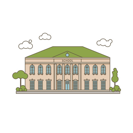building color: Color Vector Flat Illustration Of Classic School Building