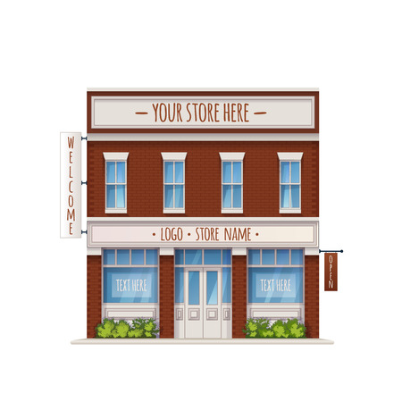 Color Vector Illustration Of Universal Small Store Front View With Copyspace Isolated On White