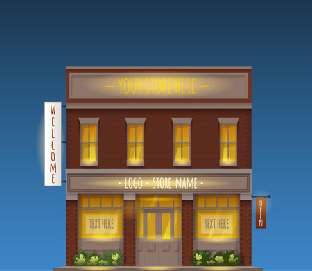 copyspace: Color Vector Illustration Of Universal Small Store Front View With Copyspace At Night