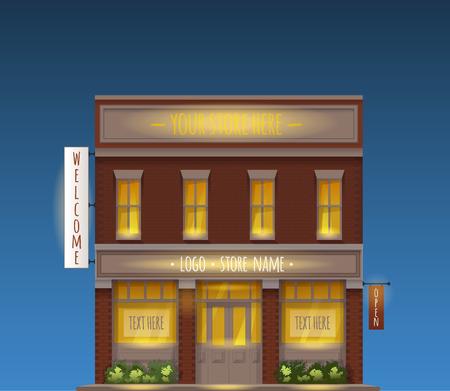 Kleur Vector Illustratie Van Universal Small Store vooraanzicht met Copyspace At Night
