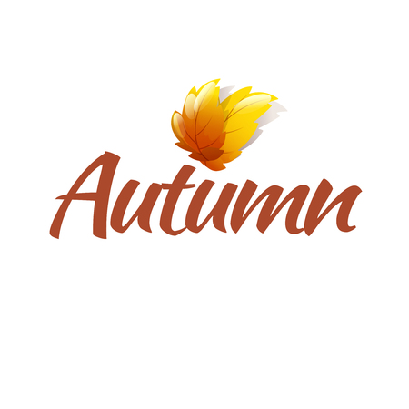 copy spase: Color Bright Autumn Logo Template With Gold Leaves Illustration