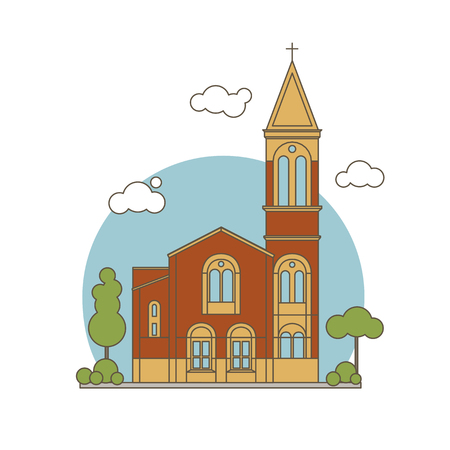 Color Flat Line Style Classic Christian Church Building Illustration