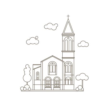 Flat Line Style Classic Christian Church Building Illustration