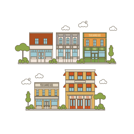 restaraunt: Flat Style Color Collection Of Small Classic Vintage Buildings For Store, Restaraunt, Office or Market Icons
