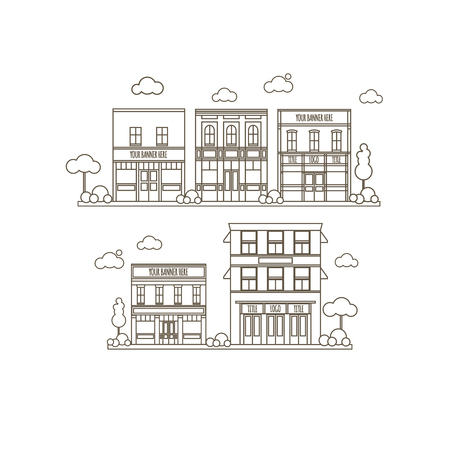 restaraunt: Flat Style Set Of Small Classic Vintage Buildings For Store, Restaraunt, Office or Market Icons Illustration