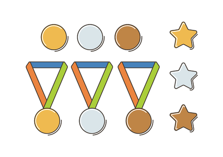 bronze medal: Gold, Silver and Bronze Medal Set. Flat Line Style