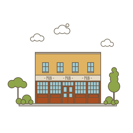 Old Pub Building Flat Style Line Vector Illustration