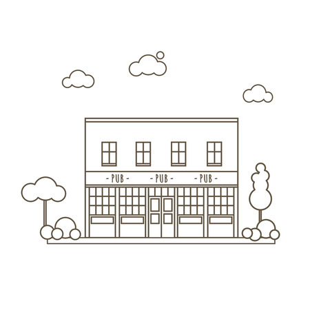 ireland cities: Old Pub Building Flat Style Line Vector Illustration