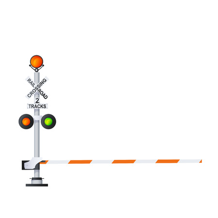 Railway Traffic Signal Color Vector Photo Realistic Illustration Isolated On White