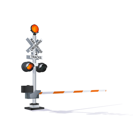 Color Vector Photorealistic Railway Traffic Signal Illustration Isolated On White Vettoriali