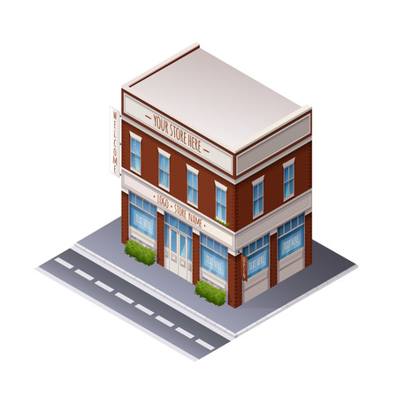 building color: Color Vector Isometric Illustration Of Building For Web, Print, UI, GUI Illustration