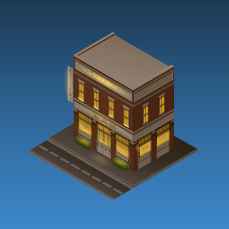 building color: Color Isometric Vector Illustration Of Night Scene. Store, Cafe, Office Or Hotel Brick Building