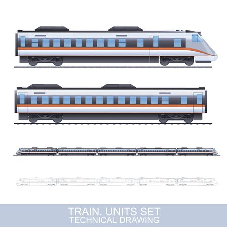 Color Vector Photorealistic Technical Illustration Of Speed Train Isolated On White