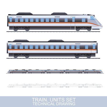 Ilustración del vector del color fotorrealista Técnica de tren de velocidad Aislado En Blanco