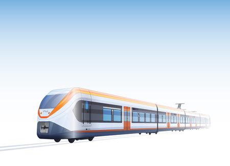 Foto Realista Vector Color Dibujo de Alta velocidad Tren de pasajeros Ilustración de vector