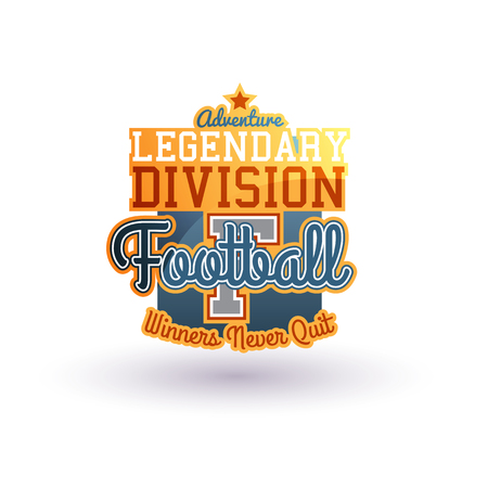 Color Vector Football Badge Isolated On White. Varsity Style. For Print, Web, Logo Or Apparel Patch Illustration