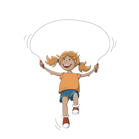 Cartoon Happy Smiling Girl With Jumping Rope Isolated On White