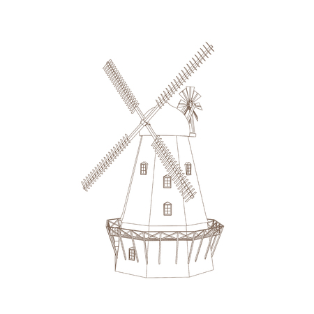 wind mills: Vector Illustration Of Old Wind Mill Isolated On White