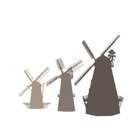mills: Vector Silhouettes Of Old Classic Mills Isolated On White