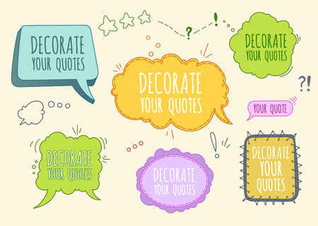 for text: Color Vector Set Of Bubbles and Frames for Text Or Chat Decoration Illustration