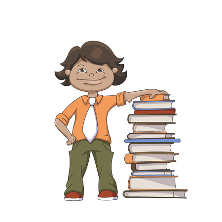 books isolated: Cartoon Standing Schoolboy With Pile Of Books Isolated On White