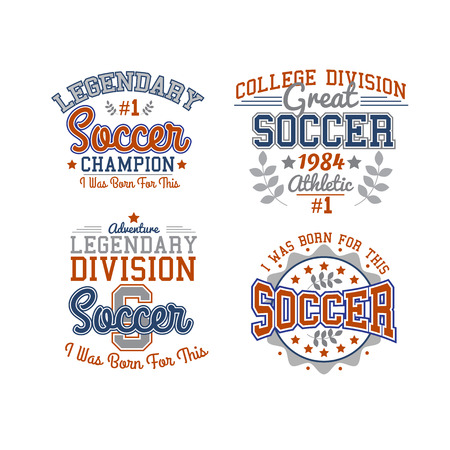 athletic: Set Of Vector Soccer Badges Isolated On White For Web, Print Or Apparel Use