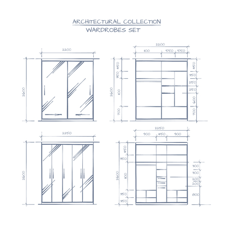 proffessional: Technical Illustration Of Wardrobe Construction. Architectural Proffessional Hand Drawn Style Drawing.