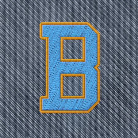 patches: Color Vector Realistic Embroidery Patch Alphabet. Editable Colors. Letter B