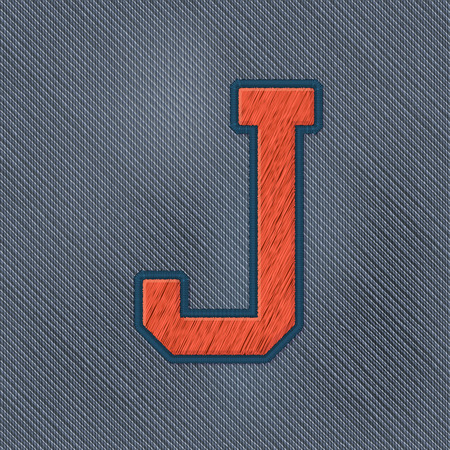 embroidery: Color Vector Realistic Embroidery Patch Alphabet. Editable Colors. Letter J Illustration