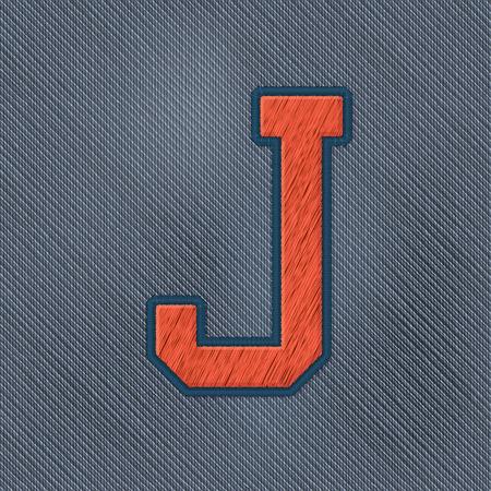 bordados: Los vectores de color realista del remiendo del bordado del alfabeto. Pueden modificar los colores. letra J