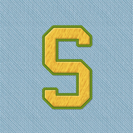 Color Vector Realistic Embroidery Patch Alphabet. Editable Colors. Letter S