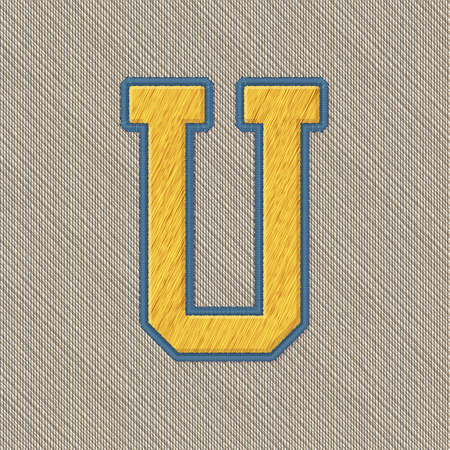 embroidery: Color Vector Realistic Embroidery Patch Alphabet. Editable Colors. Letter U