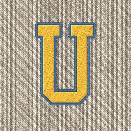 broderie: Vecteur de couleur réaliste broderie Patch Alphabet. Couleurs éditables. Lettre U