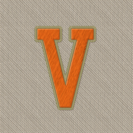 colleges: Color Vector Realistic Embroidery Patch Alphabet. Editable Colors. Letter V Illustration