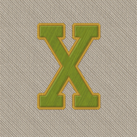 Color Vector Realistic Embroidery Patch Alphabet. Editable Colors. Letter X