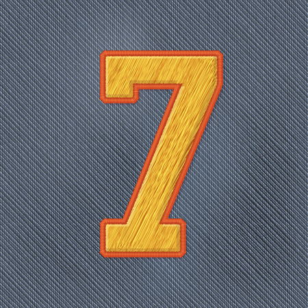 the varsity: Color Vector Realistic Embroidery Patch Numbers. Editable Colors. Number 7