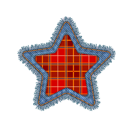 Christmas Star Shape Vector Photo Realistic Torn Denim Patch Isolated On White. Seasonal Holiday Decoration