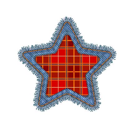 mezclilla: Forma de Estrella de Navidad Vector realista de la foto del dril de algodón del remiendo rasgado Aislado En Blanco. Estacional decoración Vectores