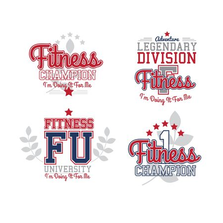 athletic type: Sport Vector Retro Style Badges Collection. Fitness Theme. Isolated On White