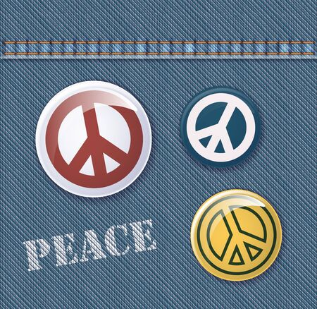 pacifist: Set Of Vector Badges With Pacifism Symbol On Realistic Denim Background Illustration