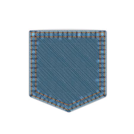 写真現実的なベクトル青デニム ポケット付き白で隔離  イラスト・ベクター素材