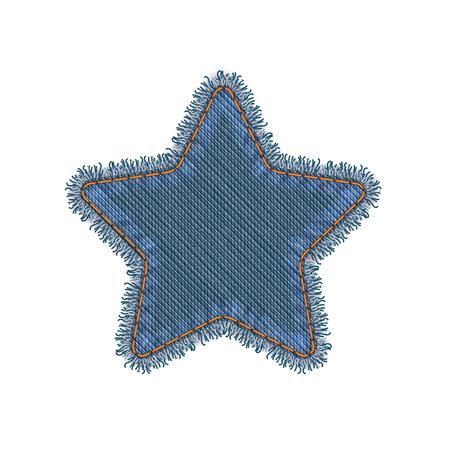 mezclilla: Forma de Estrella Vector realista de la foto rasgada dril de algodón del remiendo aislada en blanco