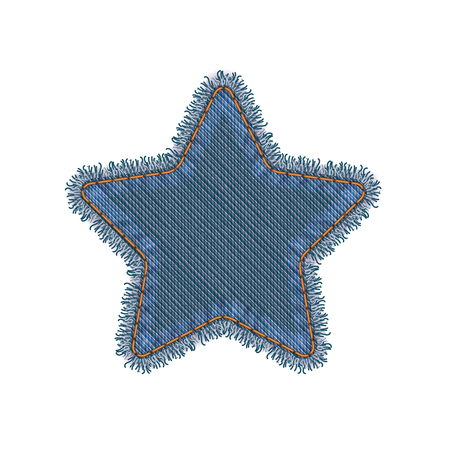 patches: Star Shape Vector Photo Realistic Torn Denim Patch Isolated On White Illustration