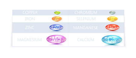 minerals: Colorful Vector Table Template Of Diet Minerals Supplement