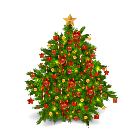 photorealistic: Bright Colorful Photorealistic Traditional Decorated Christmas Tree Isolated On White